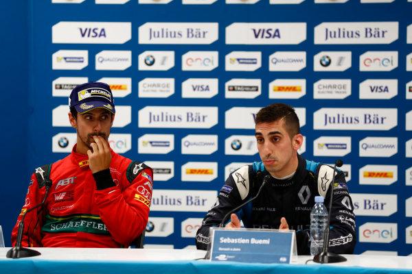 2016/2017 FIA Formula E Championship. Monte-Carlo, Monaco Saturday 13 May 2017. Lucas Di Grassi (BRA), ABT Schaeffler Audi Sport, Spark-Abt Sportsline, ABT Schaeffler FE02, and Sebastien Buemi (SUI), Renault e.Dams, Spark-Renault, Renault Z.E 16, in the Press Conference. Photo: Sam Bloxham/LAT/Formula E ref: Digital Image _W6I6875