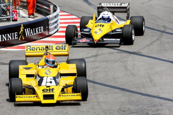 Monte Carlo, Monaco. Friday 26 May 2017. Jean-Pierre Jabouille, Renault RS01, leads Alain Prost, Renault RE40. World Copyright: Charles Coates/LAT Images ref: Digital Image DJ5R7575