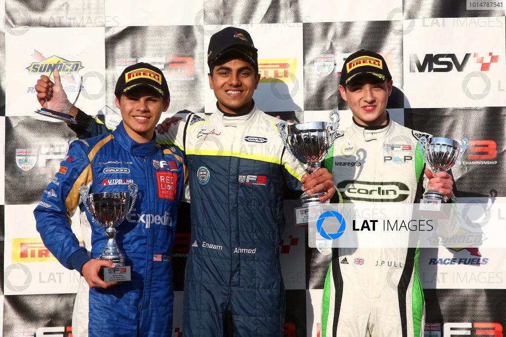 2017 BRDC Formula Three Championship, Oulton Park, 15th-17th April, 2017, Cameron Das (USA), Enaam Ahmed (GBR) and James Pull (GBR) Carlin BRDC F3  World copyright. JEP/LAT Images