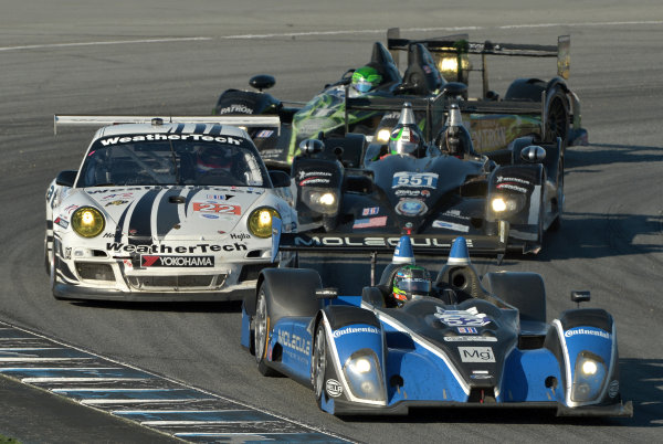 9-11 May, 2013, Monterey, California USA.#52 PR1 Mathiasen Motorsport's Oreca FLM09 followed by #22 Porsche, #551 HPD and #02 HPD ©2013, Dan R. Boyd LAT Photo USA