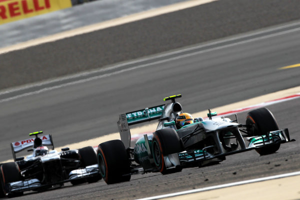 Bahrain International Circuit, Sakhir, Bahrain Sunday 21st April 2013 Lewis Hamilton, Mercedes W04, leads Valtteri Bottas, Williams FW35 Renault.  World Copyright: Andy Hone/LAT Photographic ref: Digital Image HONY1294