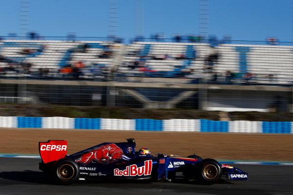 2014 F1 Pre Season Test 1 - Day 3 Circuito de Jerez, Jerez, Spain. Thursday 30 January 2014. Jean-Eric Vergne, Toro Rosso STR9 Renault. World Copyright: Glenn Dunbar/LAT Photographic. ref: Digital Image _89P0012