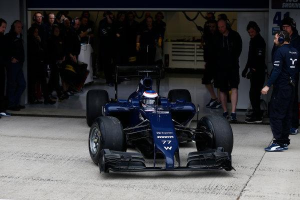 2014 F1 Pre Season Test 1 - Preview Circuito de Jerez, Jerez, Spain. Tuesday 28 January 2014. Valtteri Bottas, Williams FW36 Mercedes. leaves the garage. World Copyright: Andrew Ferraro/LAT Photographic. ref: Digital Image _79P0956