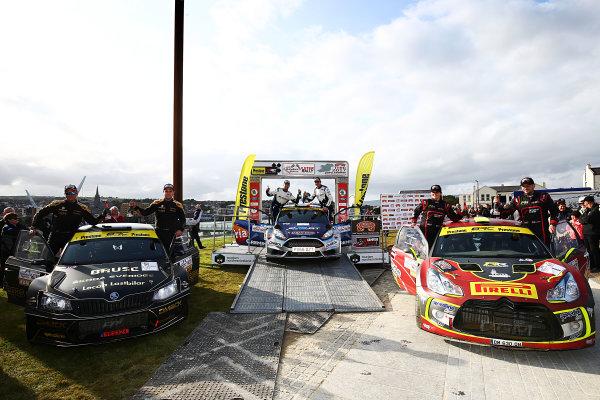 2017 British Rally Championship, Ulster Rally, Londonderry. 18th - 19th August 2017. Overall Podium (l-r) Fredrik Ahlin / Torstein Eriksen Skoda Fabia R5, Keith Cronin / Mikie Galvin Ford Fiesta R5, Jonny Greer / Kirsty Riddick Citroen DS3 R5 World Copyright: JEP/LAT Images.