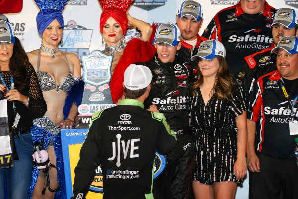 NASCAR Camping World Truck Series Las Vegas 350 Las Vegas Motor Speedway, Las Vegas, NV USA Saturday 30 September 2017 Ben Rhodes, Safelite Auto Glass Toyota Tundra celebrates with Grant Enfinger, Jive Toyota Tundra World Copyright: Barry Cantrell LAT Images