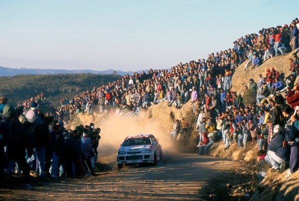 Acropolis Rally, Greece. 1-5 June 1996.Tommi Makinen/Seppo Harjanne (Mitsubishi Lancer Evo3), 2nd position, action.World Copyright: LAT PhotographicRef: 35mm transparency.
