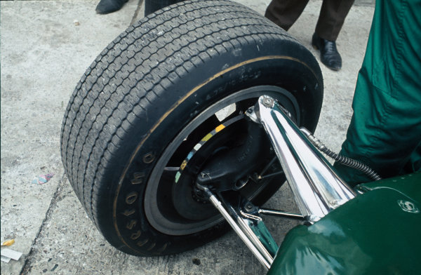 Monza, Italy. 8-10 September 1967. Close up of Lotus 49 front suspension. Ref: 67 ITA 07 World Copyright - LAT Photographic