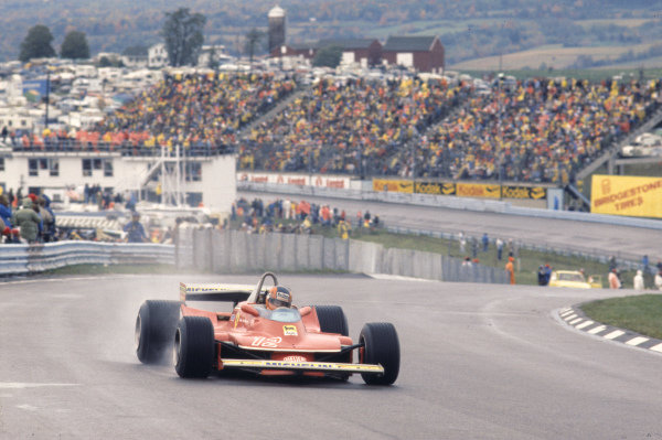 1979 United States Grand Prix East. Watkins Glen, NY, USA. 5-7 October 1979. Gilles Villeneuve (Ferrari 312T4) 1st position. Ref-79 USA 02. World Copyright - LAT Photographic