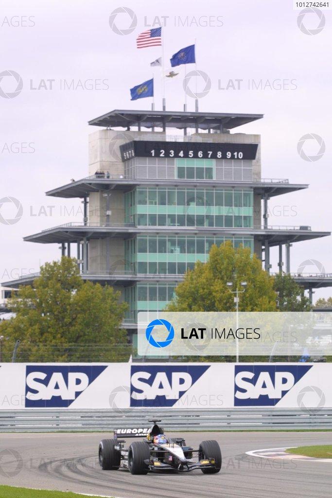 2001 American Grand Prix - Friday / PracticeIndianapolis Motor Speedway, Indianapolis. America. 28th September 2001Fernando Alonso, European Minardi PS01, action.World Copyright - LAT Photographicref: 8 9 MB Digital