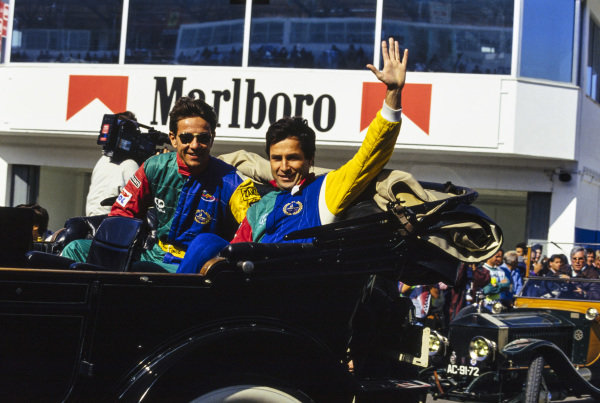 Teammates Philippe Alliot and Érik Comas on the drivers' parade.