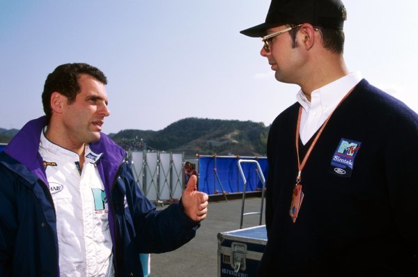 (L to R): Roland Ratzenberger (AUT) Simtek, who finished eleventh in his first GP start, talks with Nick Wirth (GBR) Simtek Team Principal.