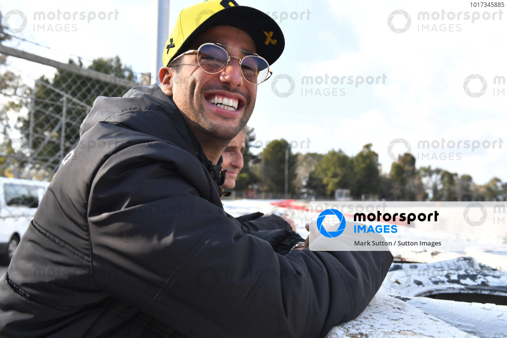 Daniel Ricciardo, Renault Sport F1 Team and Alain Prost, Renault Sport F1 Team Special Advisor watch the Action from trackside