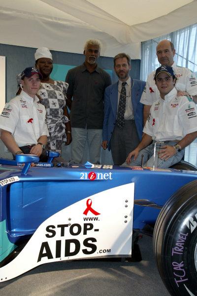 2002 American Grand PrixIndianapolis, USA. 26th September 2002.Felipe Massa, Nick Heideld and Peter Sauber.World Copyright - Pan Images/LAT Photographicref: Digital File Only