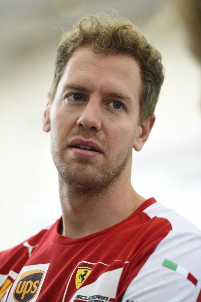 Sebastian Vettel (GER) Ferrari at Formula One World Championship, Rd16, United States  Grand Prix, Preparations, Austin, Texas, USA, Thursday 22 October 2015.