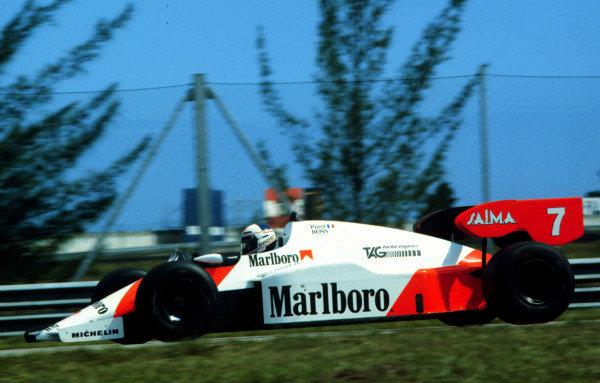 1984 Brazilian Grand Prix.Jacarepagua, Rio de Janeiro, Brazil.23-25 March 1984.Alain Prost (McLaren MP4/2 TAG Porsche) 1st position.World Copyright - LAT Photographic