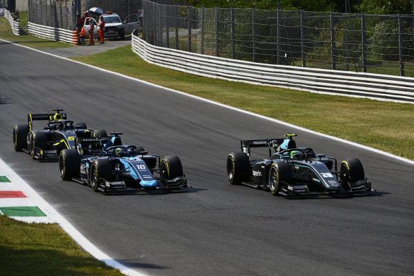 Alessio Deledda (ITA, HWA Racelab), leads Roy Nissany (ISR, DAMS), and Dan Ticktum (GBR, Carlin)