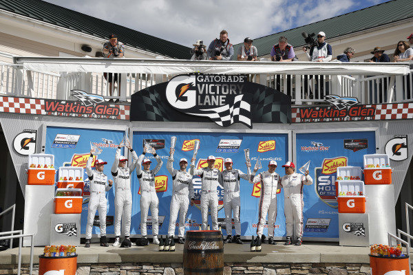 #77 Mazda Team Joest Mazda DPi, DPi: Oliver Jarvis, Tristan Nunez, Timo Bernhard, #55 Mazda Team Joest Mazda DPi, DPi: Jonathan Bomarito, Harry Tincknell, Olivier Pla, #6 Acura Team Penske Acura DPi, DPi: Juan Pablo Montoya, Dane Cameron, podium