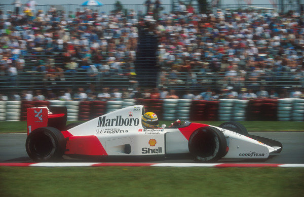 1992 Canadian Grand Prix.Montreal, Quebec, Canada.12-14 June 1992.Ayrton Senna (McLaren MP4/7A Honda). He exited the race after his engine cut out due to an electronics failure.Ref-92 CAN 09.World Copyright - LAT Photographic