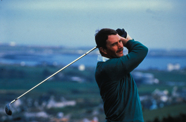 Isle of Man, United Kingdon. 18/4/1989. Nigel Mansell plays golf