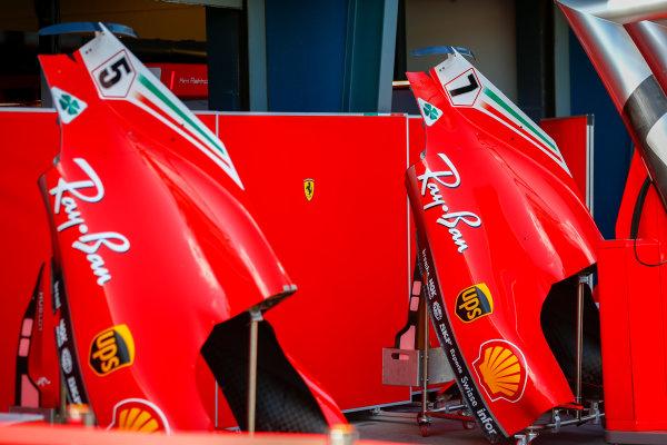 Engine covers of Sebastian Vettel, Ferrari and Kimi Raikkonen, Ferrari.