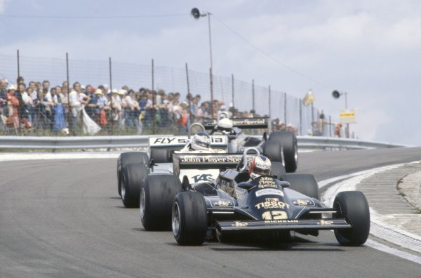 1981 French Grand Prix.Dijon-Prenois, France. 3-5 July 1981.Nigel Mansell (Lotus 87-Ford Cosworth) leads Carlos Reutemann (Williams FW07C-Ford Cosworth) and Elio de Angelis (Lotus 87-Ford Cosworth).World Copyright: LAT PhotographicRef: 35mm transparency 81FRA21