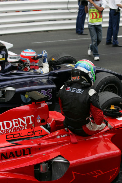 2005 GP2 Series - MonacoMonte-Carlo. 20th & 21st MaySaturday - RaceGianmaria Bruni (I, Coloni Motorsport). 2nd and Adam Carroll (GB, Super Nova International). 1st gets out of the cars in front of the Podium Photo: GP2 Series Media Serviceref: Digital Image Only.