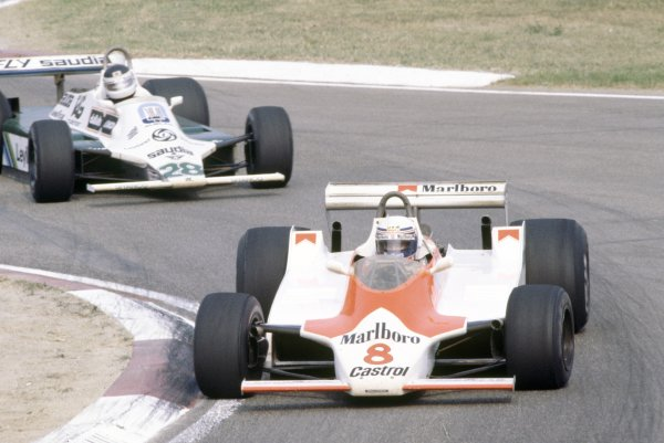 1980 Italian Grand Prix.Imola, Italy. 12-14 September 1980.Alain Prost (McLaren M30-Ford Cosworth), 7th position, leads Carlos Reutemann (Williams FW07B-Ford Cosworth), 3rd position.World Copyright: LAT PhotographicRef: 35mm transparency 80ITA15