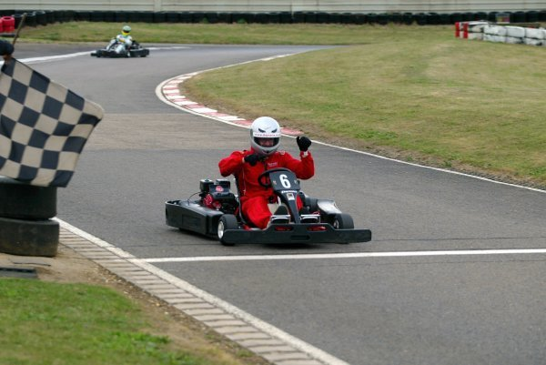 A delighted Russell Batchelor (GBR) Sutton Motorsport Images celebrates his fine second position as he crosses the finish line.  