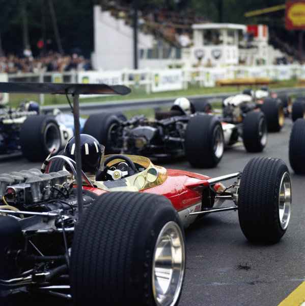 Graham Hill, Lotus 49B Ford, on the grid.