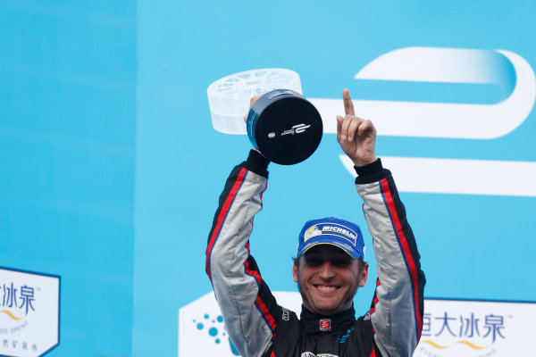 FIA Formula E -  Podium Beijing E-Prix, China Saturday 13 September 2014. Franck Montagny (FRA)/Andretti Motorsport - Spark-Renault SRT_01E  Photo: Sam Bloxham/LAT/ Formula E ref: Digital Image _SBL6305