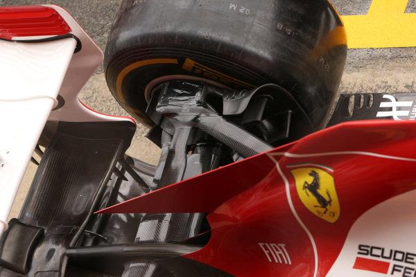 Ferrari F138 rear suspension detail. Formula One World Championship, Rd5, Spanish Grand Prix, Preparations, Barcelona, Spain, Thursday 9 May 2013.