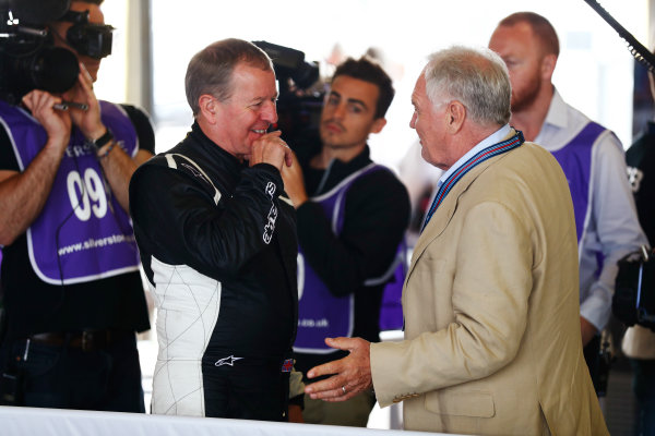 Williams 40 Event Silverstone, Northants, UK Friday 2 June 2017. Martin Brundle interviews Patrick Head. World Copyright: Sam Bloxham/LAT Images ref: Digital Image _J6I6485