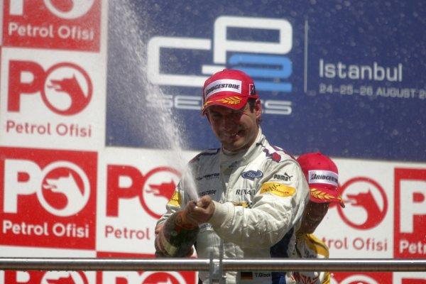 2007 GP2 Series. Round 8.Istanbul Park, Istanbul Turkey. 26th August 2007. Sunday Race.Timo Glock (GER, iSport International) celebrates victory on the podium. World Copyright: Charles Coates/GP2 Series Media Service.ref: Digital ImageIMG_5973