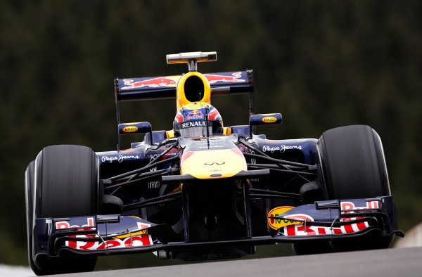 Spa-Francorchamps, Spa, Belgium 26th August 2011. Mark Webber, Red Bull Racing RB7 Renault. Action.  World Copyright: Steve Etherington/LAT Photographic ref: Digital Image SNE20822