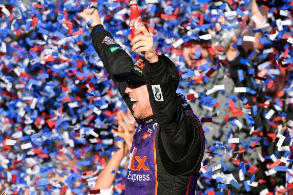 13-21 February, 2016, Daytona Beach, Florida  Denny Hamlin, FedEx Express Toyota Camry celebrates his win in Victory Lane ? 2016, Nigel Kinrade LAT Photo USA