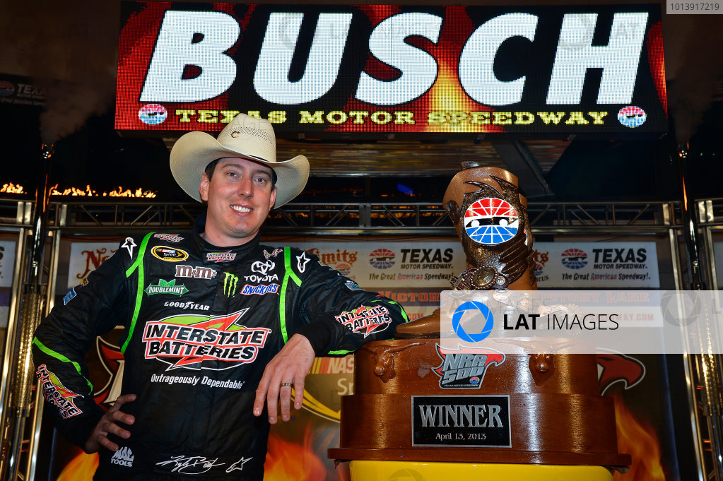 April 11-13, 2013 Fort Worth, Texas USA Kyle Busch, Interstate Batteries Toyota Camry in Victory Lane © 2013, Brian Czobat LAT Photo USA .