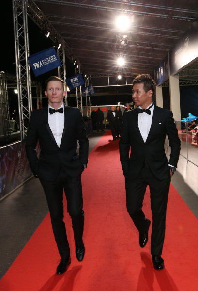 2016 FIA Prize Giving Vienna, Austria Friday 2nd December 2016 Mike Conway and Kamui Kobayashi. Photo: Copyright Free FOR EDITORIAL USE ONLY. Mandatory Credit: FIA ref: 30570208543_79e8be73e8_o