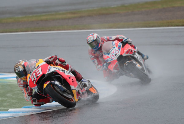 2017 MotoGP Championship - Round 15 Motegi, Japan. Sunday 15 October 2017 Marc Marquez, Repsol Honda Team, Andrea Dovizioso, Ducati Team World Copyright: Gold and Goose / LAT Images ref: Digital Image 22247