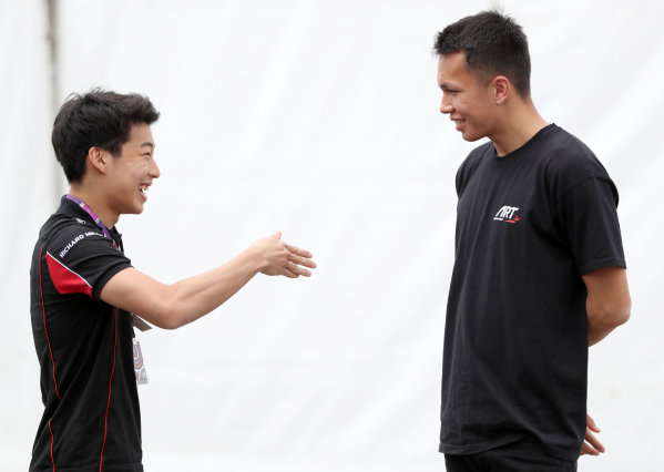 2017 FIA Formula 2 Round 2. Circuit de Catalunya, Barcelona, Spain. Thursday 11 May 2017. ART GP3 driver Nirei Fukuzumi talks to Art F2 driver  Alexander Albon Photo: Jed Leicester/FIA Formula 2. ref: Digital Image JL2_9849