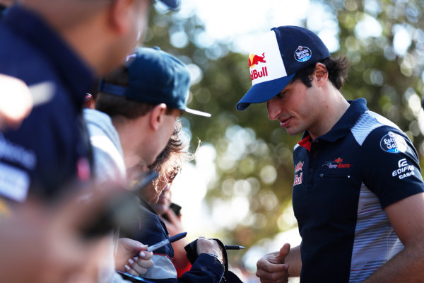 Albert Park, Melbourne, Australia. Wednesday 22 March 2017. Carlos Sainz Jr, Toro Rosso.  World Copyright: Sam Bloxham/LAT Images ref: Digital Image _J6I0294