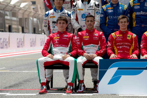 2017 FIA Formula 2 Round 1. Bahrain International Circuit, Sakhir, Bahrain.  Thursday 13 April 2017. Class photo on the grid. Photo: Zak Mauger/FIA Formula 2. ref: Digital Image _56I8910