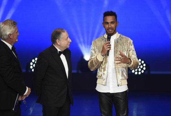 FIA Prize Giving Versailles, France. December 8, 2017. Lewis Hamilton with Jean Todt during the FIA Prize Giving at Versailles. World Copyright: Jean Marie Hervio / DPPI / FIA Ref: Digital Image auto---fia-prize-giving---versailles-2017_27155442529_o