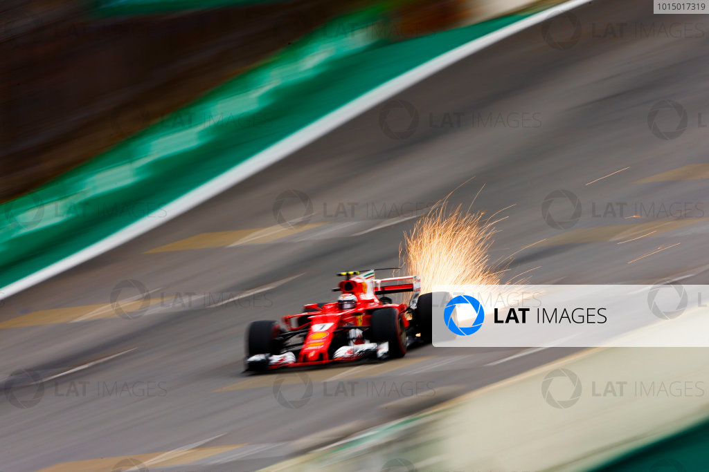 Interlagos, Sao Paulo, Brazil. Saturday 11 November 2017. Sparks fly from the car of Kimi Raikkonen, Ferrari SF70H. World Copyright: Andy Hone/LAT Images  ref: Digital Image _ONZ4294