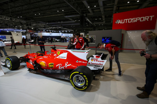 Autosport International Exhibition. National Exhibition Centre, Birmingham, UK. Sunday 14th January 2018. The Ferrari display.World Copyright: Mike Hoyer/JEP/LAT Images Ref: AQ2Y0209