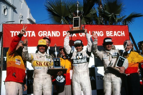 Podium and results: 1st Nelson Piquet (BRA), Brabham, centre. 2nd  Riccardo Patrese (ITA), Arrows, right. 3rd Emerson Fittipaldi (BRA), Fittipaldi, left. United States Grand Prix (West), Rd4, Long Beach, CA, USA. 30 March 1980. BEST IMAGE