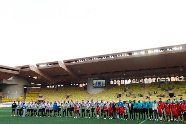 Monte Carlo, Monaco. Tuesday 19 May 2015. The teams line up at the 22nd World Stars football match. World Copyright: Charles Coates/LAT Photographic. ref: Digital Image _J5R5544