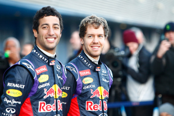 2014 F1 Pre Season Test 1 - Preview Circuito de Jerez, Jerez, Spain. Tuesday 28 January 2014. Sebastian Vettel, Red Bull Racing. and Daniel Ricciardo, Red Bull Racing at the launch of the Red Bull RB10. World Copyright: Alastair Staley/LAT Photographic. ref: Digital Image _A8C7674