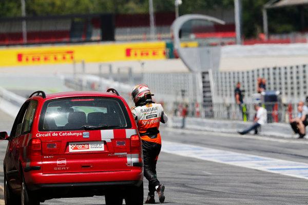 Circuit de Catalunya, Barcelona, Spain. Wednesday 14 May 2014. Daniel Juncadella, Test Driver, Force India, arrives back at the pits. World Copyright: Sam Bloxham/LAT Photographic. ref: Digital Image _SBL0321