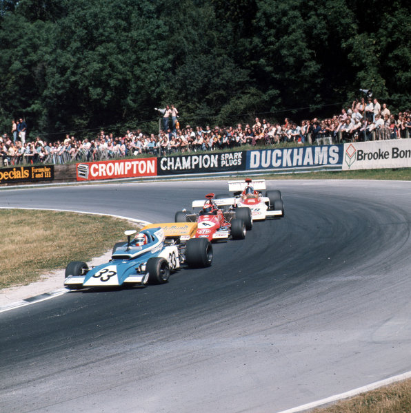 Brands Hatch, England. 13-15 July 1972.Rolf Stommelen (Eifelland 21 Ford) leads Niki Lauda (March 721G Ford) and Dave Charlton (Lotus 72D Ford). Ref-3/5100G.World Copyright - LAT Photographic