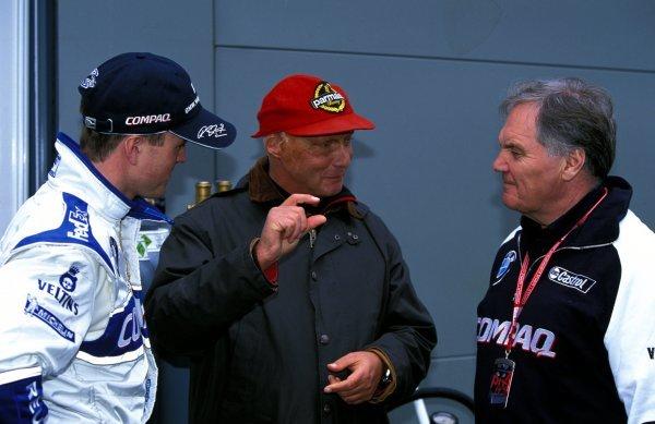 (L-R) Ralf Schumacher (GER) Williams, Niki Lauda (AUT) Jaguar Team Principal and Patrick Head (GBR) Williams Technical Director.Formula One World Championship, Rd1, Australian Grand Prix, Albert Park, Melbourne, Australia, 3 March 2002.BEST IMAGE